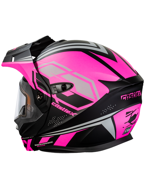 castle cx950 siege electric helmet black pink back