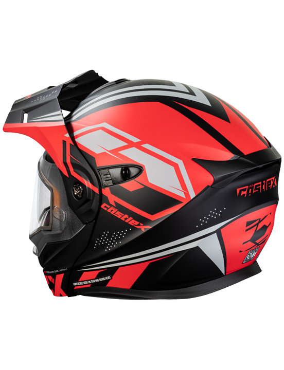 castle cx950 siege electric helmet black red back