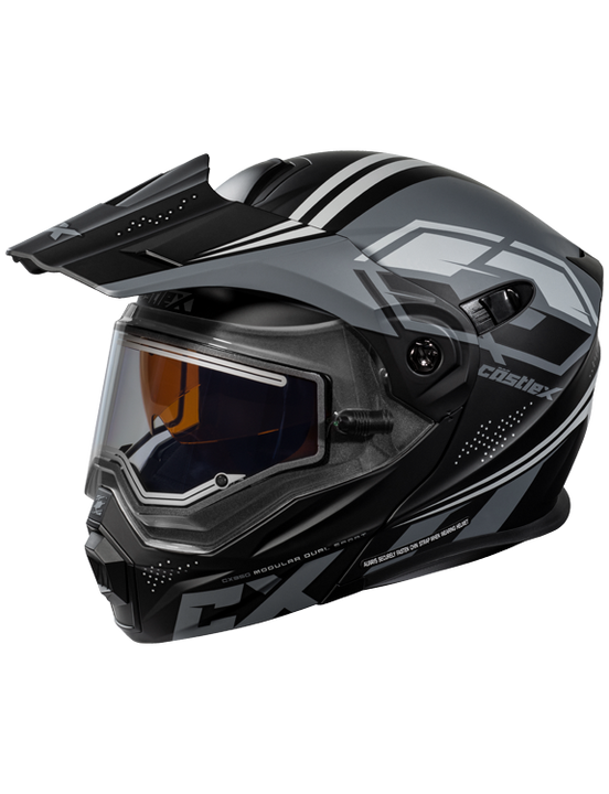 castle cx950 siege electric helmet black grey front