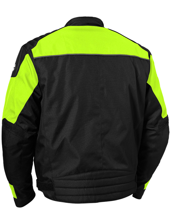 castle classic motorcycle jacket hivis back