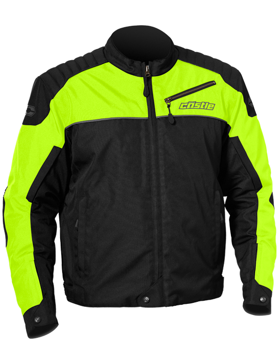 castle classic motorcycle jacket hivis