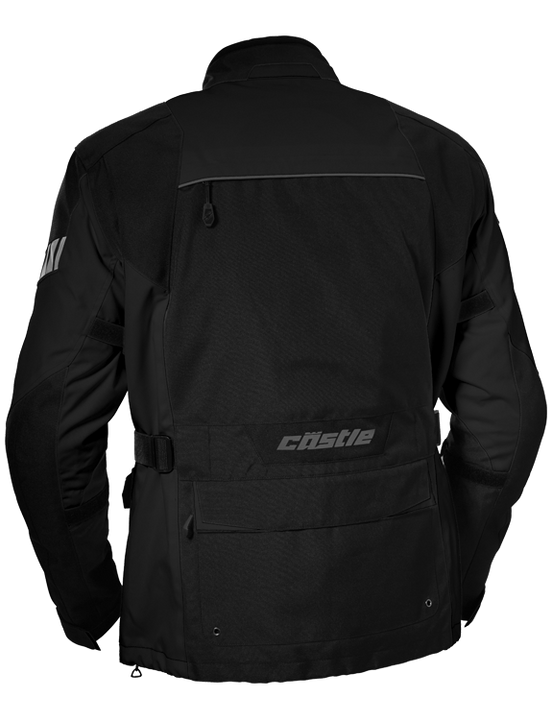 castle distance motorcycle jacket black back