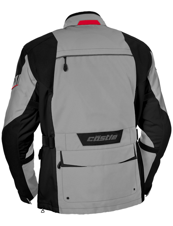 castle distance motorcycle jacket gray red back