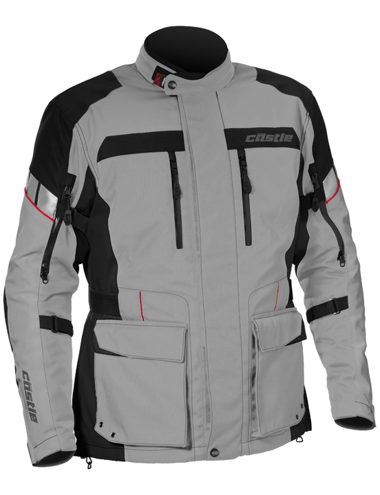 castle distance motorcycle jacket gray red