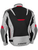 castle max air motorcycle jacket gray red back