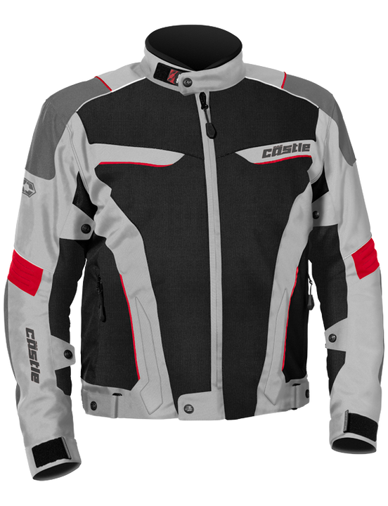 castle max air motorcycle jacket gray red