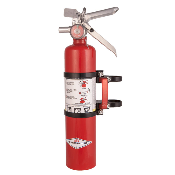 Axia Alloys Fire Extinguisher Quick Release Mount Black with 2.5 Lb. Red Extinguisher
