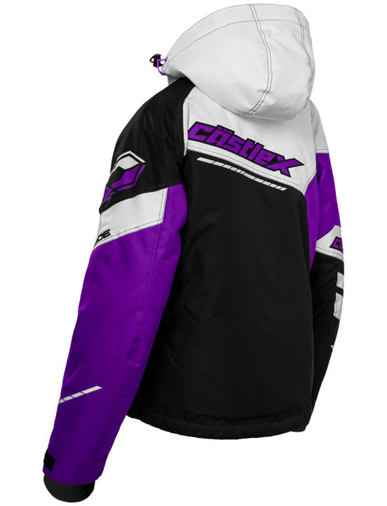 castle code jacket womens black white grape back