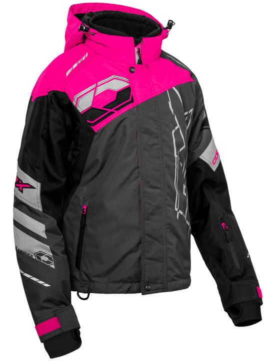 castle code jacket womens black pink grey front