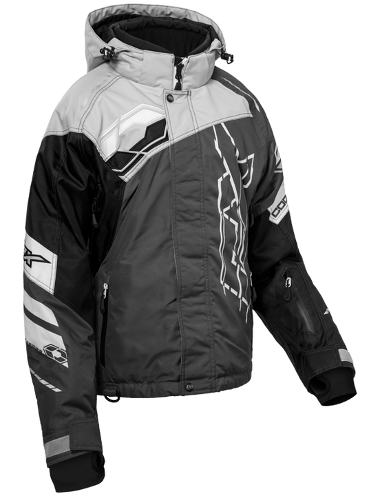 castle code jacket womens silver black front