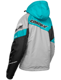 castle code jacket womens silver turquoise back