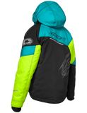 castle code jacket youth turquoise hivis back
