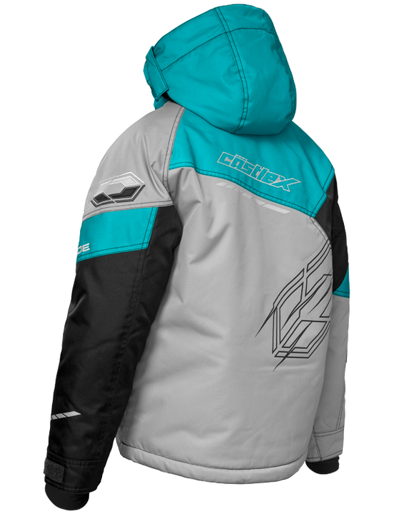 castle code jacket youth silver turquoise back