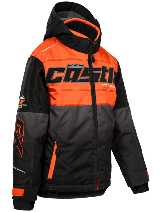 castle strike jacket youth orange black front