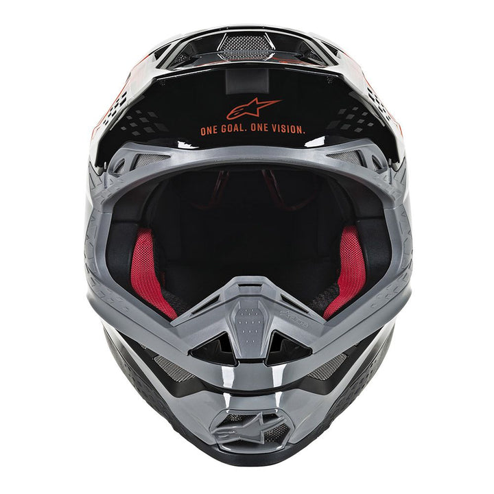 alpinestars supertech m8 triple helmet orange grey front