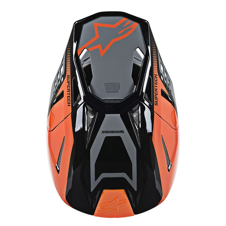 alpinestars supertech m8 triple helmet orange grey top