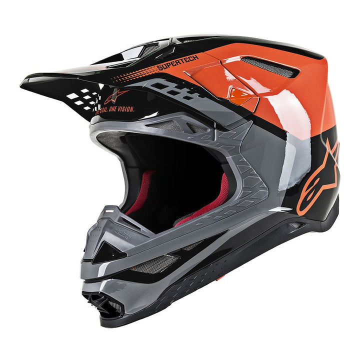 alpinestars supertech m8 triple helmet orange