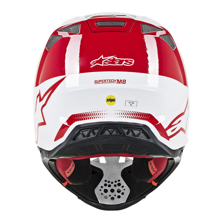 alpinestars supertech m8 triple helmet red white back
