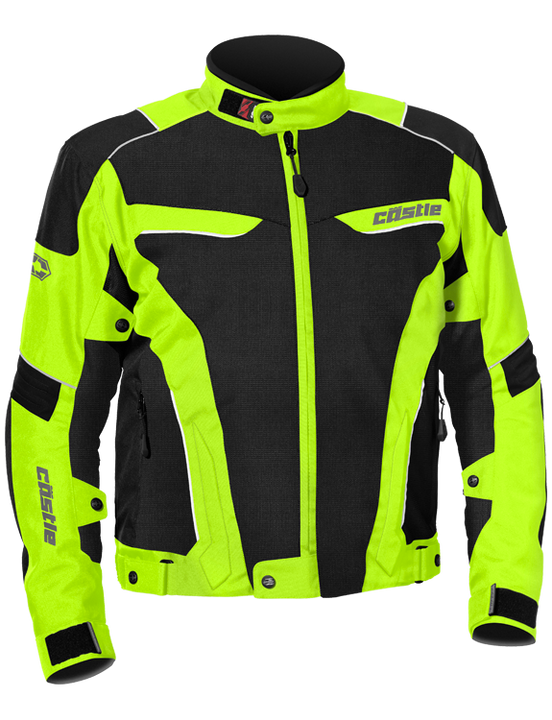 castle max air motorcycle jacket hivis