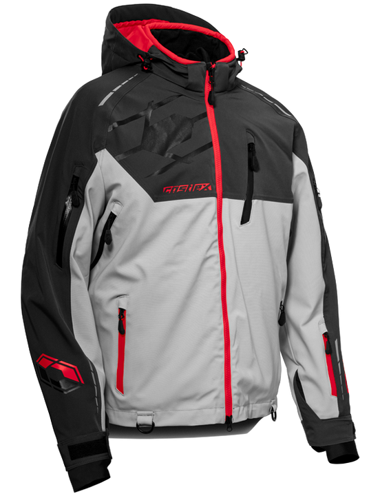 castle x mens snow jacket flex silver red