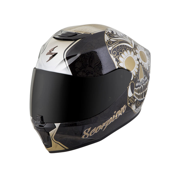 scorpion r420 sugar skull helmet gold2