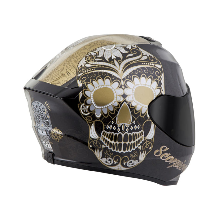 scorpion r420 sugar skull helmet gold3