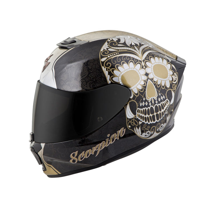 scorpion r420 sugar skull helmet gold1