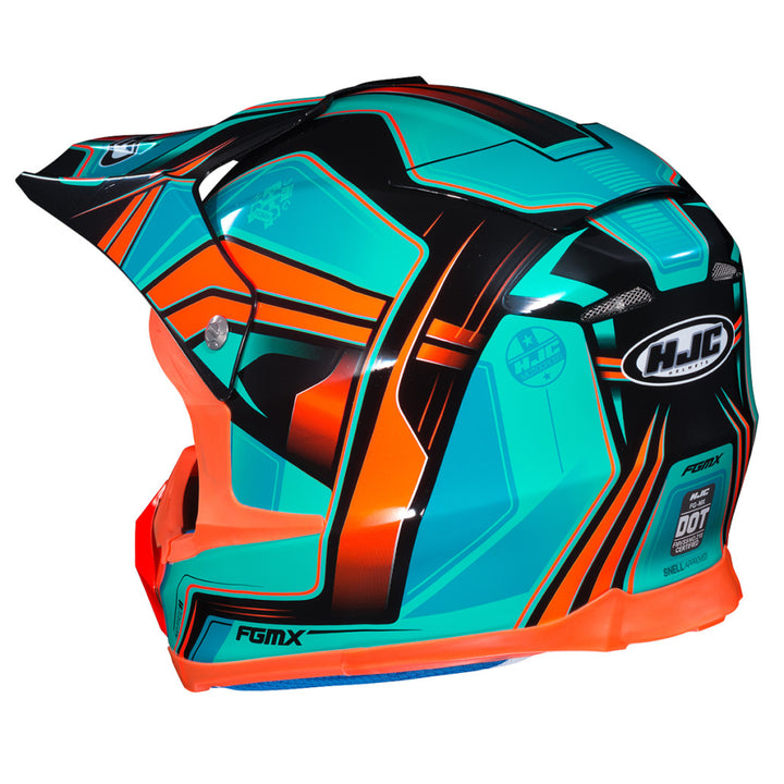 hjc-fg-mx-piston-helmet-orange/teal-rear