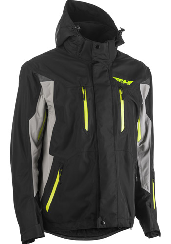 fly racing incline snow jacket black grey