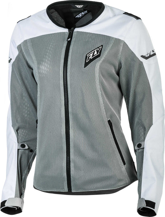 fly racing flux air womens jacket white grey