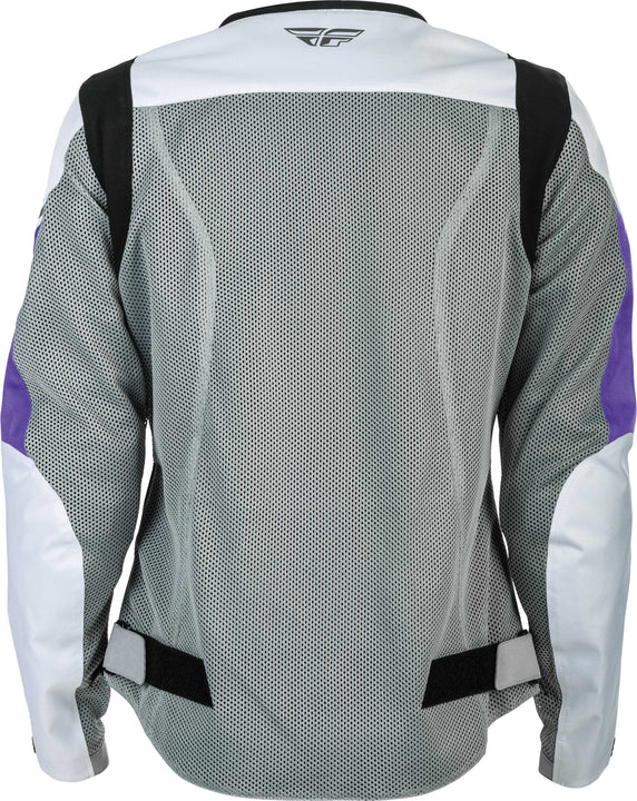 fly racing flux air womens jacket white purple back
