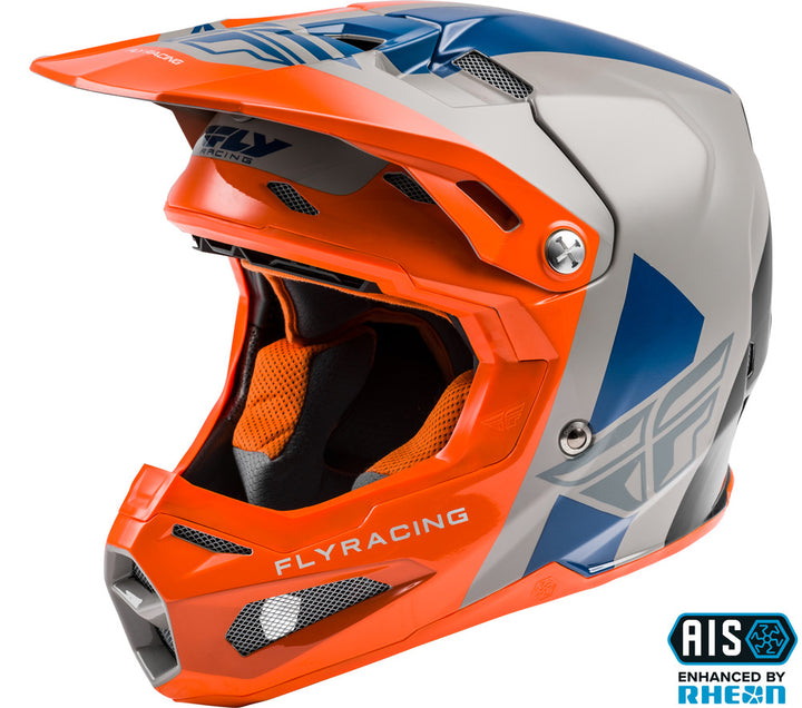 fly racing helmets formula origin orange blue silver