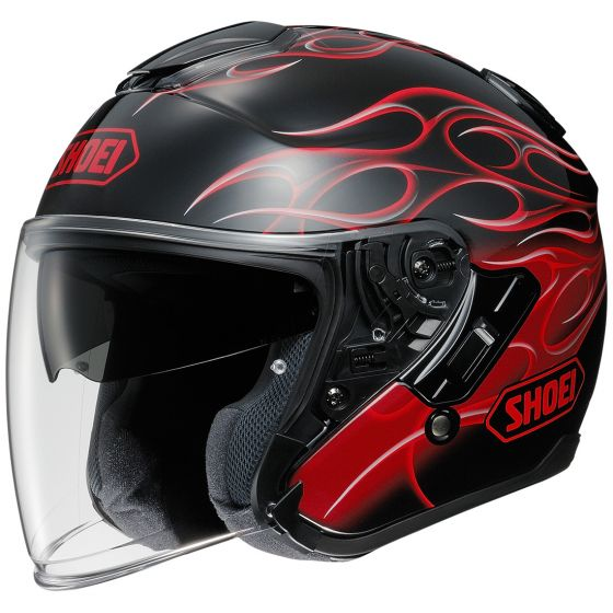 shoei j cruise 3/4 helmet red