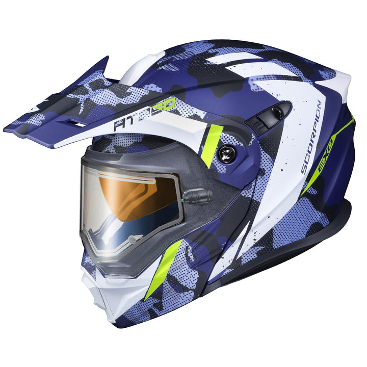scorpion exo at950 outrigger electric face shield helmet blue