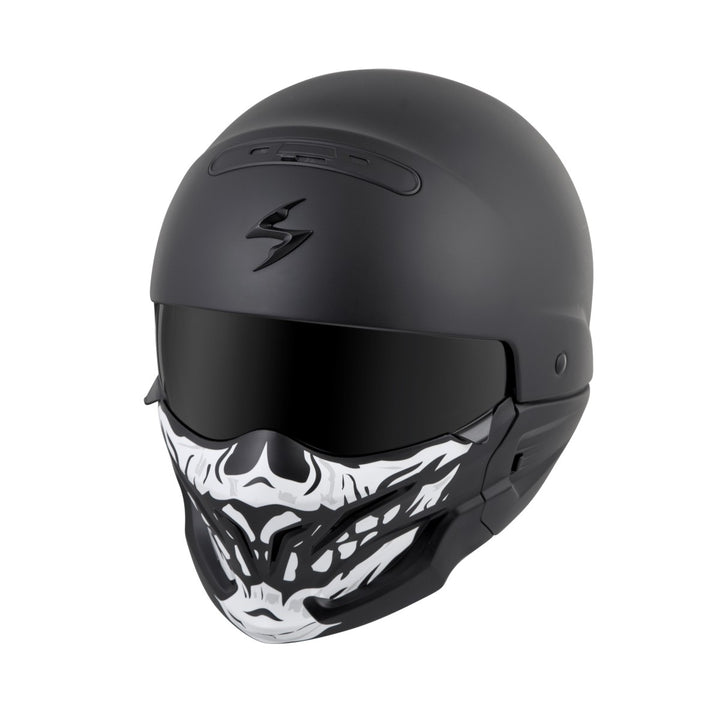 scorpion covert helmet skull face mask black angle