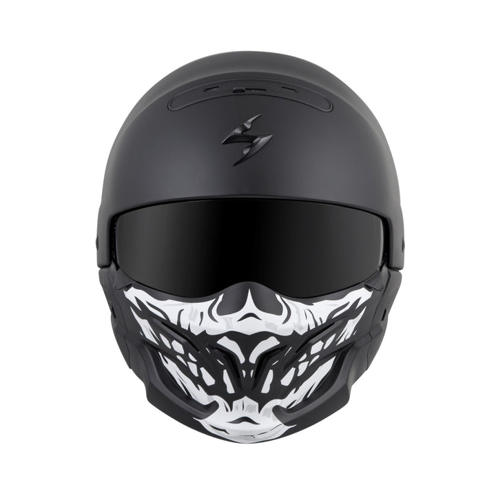 scorpion covert helmet skull face mask black front
