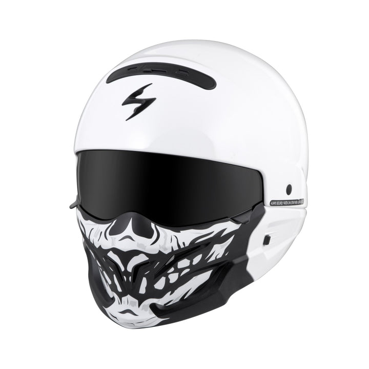 scorpion covert helmet skull face mask white angle