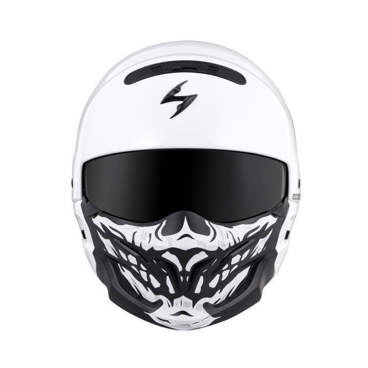 scorpion covert helmet skull face mask white front