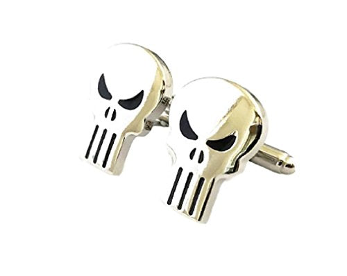 Main Street 24/7 The Punisher Skull 3D Cosplay Metal Cufflinks