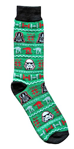 Hyp Star Wars Vader/Stormtrooper Green Ugly Sweater Pattern Men's Crew Christmas Socks