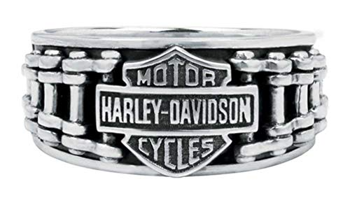 Harley-Davidson Men's Bar & Shield Bike Chain Ring, Sterling Silver HDR0260 (14)
