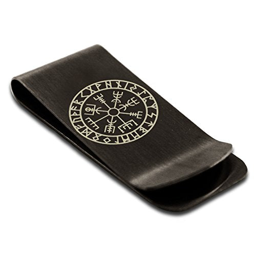 Stainless Steel Icelandic Vegvisir Viking Rune Symbol Money Clip Credit Card Holder