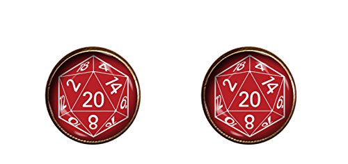 CHAOTICFASHION 20 Sided Dice Cuff Links RED Handmade D&D Jewelry Pendant Charm Gifts