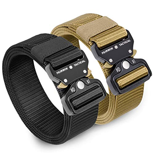 "Tactical Belt 2 Pack, 1,5"" Military Webbing Rigger Belt, Mens Nylon Belts"