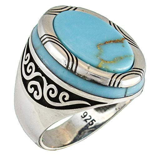 Solid 925 Sterling Silver Turquoise Luxury Turkish Handmade Men's Ring (11.25)