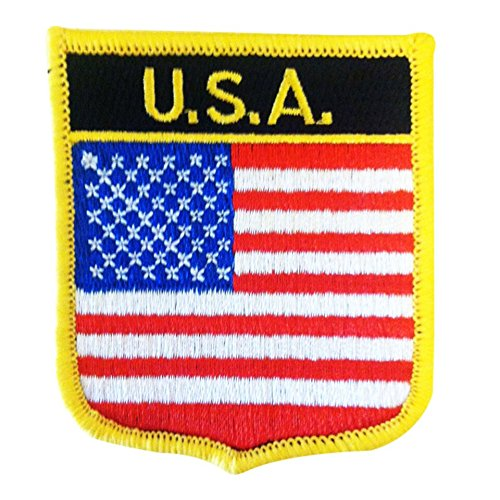 "Ameican Flag Emblem Badge Iron on Patch by Backwoods Barnaby (USA Crest, 2.75"" x 2.35"")"