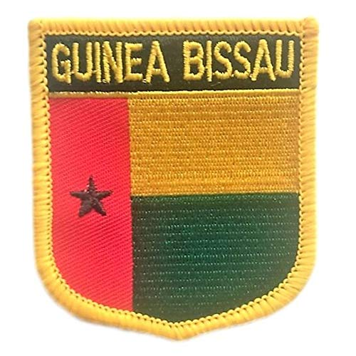 "Guinea Bissau Flag Shield Travel Patch / International Iron On Badge (Guinea Bissau Crest, 2.75"" x 2.35"")"