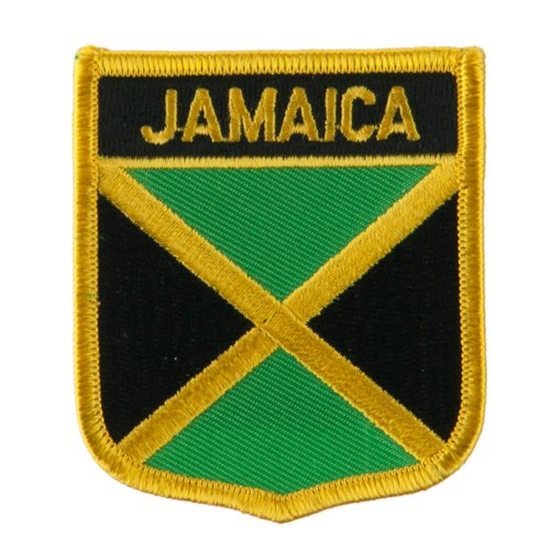 "Jamaica Flag Patch / International Travel Shield Iron On Badge by Backwoods Barnaby (Jamaican Crest, 2.75"" x 2.35"")"