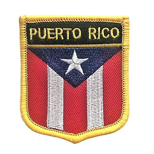 Puerto Rico Flag Shield Patch (Puerto Rican Iron/Sew On Crest)