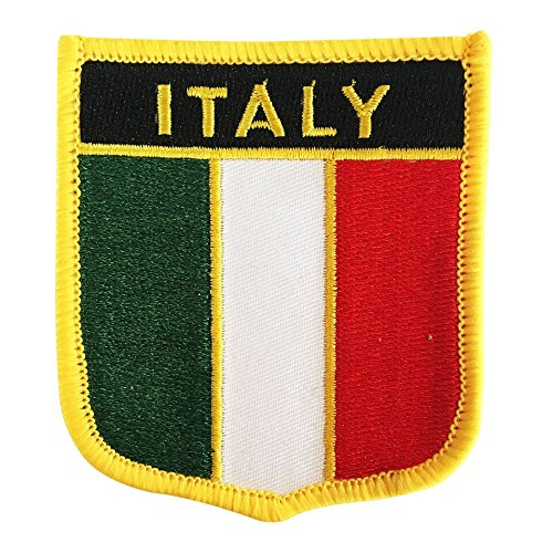 "Italy Flag Badge Patch / Emblem Embroidered Iron-On Italiano Morale Patches (Italian Crest, 2.75"" x 2.35"")"